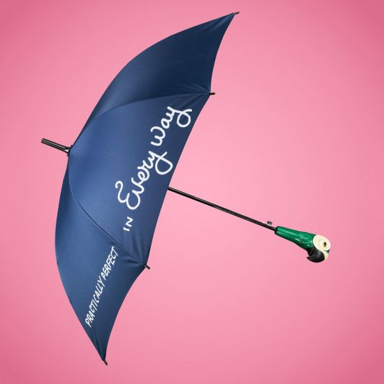 Mary Poppins Umbrella with Parrot Head Handle on a pink background