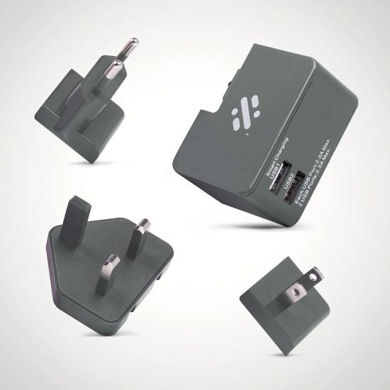 Tour Travel Plug with 3 heads Grey - Grey Background
