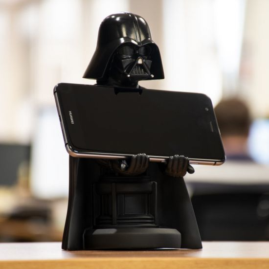 """Darth Vader 8"""" Cable Guy holding a phone in the office"""