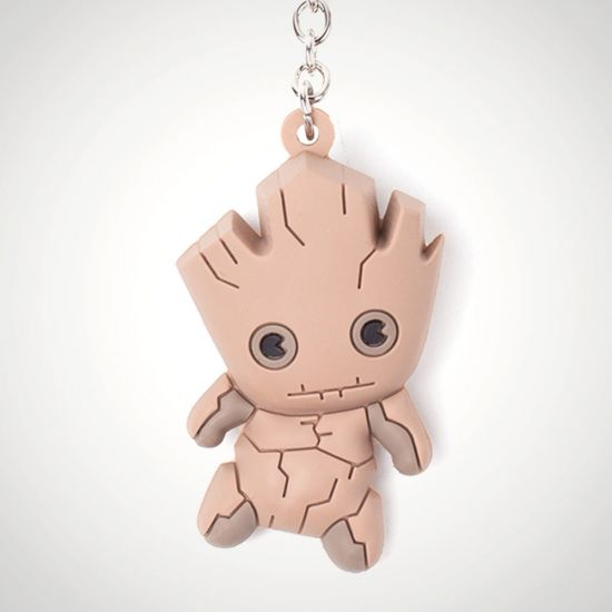 Groot 3D Rubber Keychain - grey background
