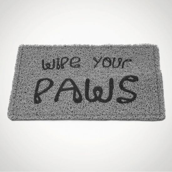 Wipe Your Paws Mat - Grey Background