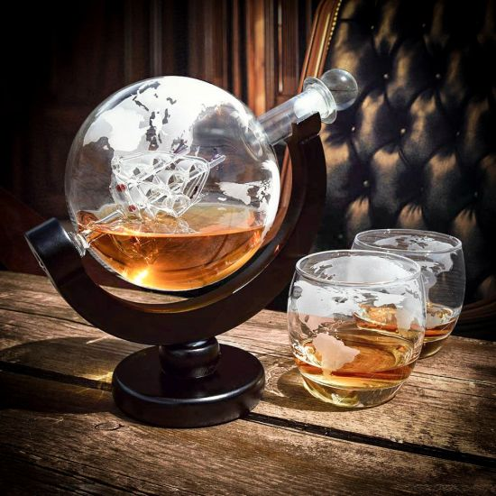 Globe Decanter Set on an old desk in a dark office