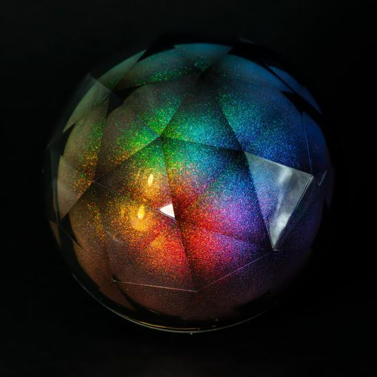 Glitter Geode Ball Speaker showing a rainbow of colours