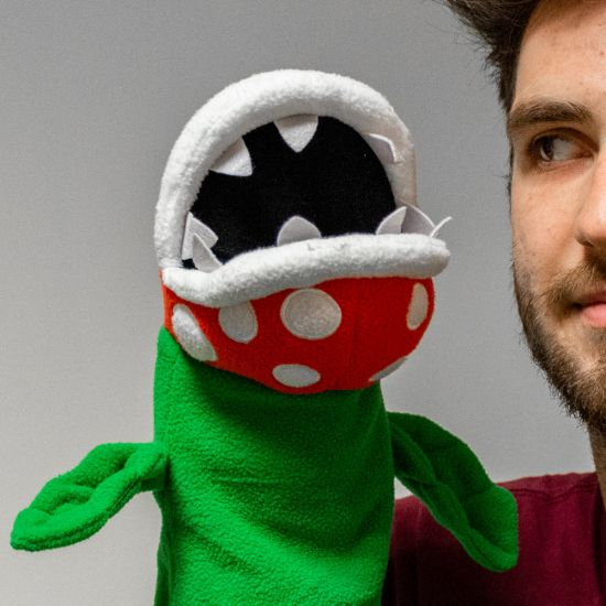 Super Mario Piranha Plant Puppet - Grey Background