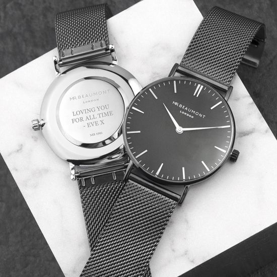 Personalised Metallic Charcoal and Black Mesh Watch