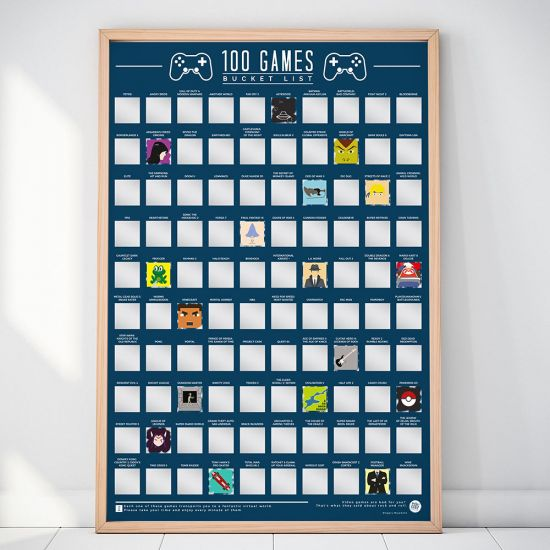 100 Games Scratch-Off Bucket List Poster in a frame against a wall