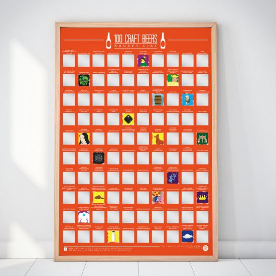 100 Craft Beer Scratch-Off Bucket List Poster in a wooden frame against a wall