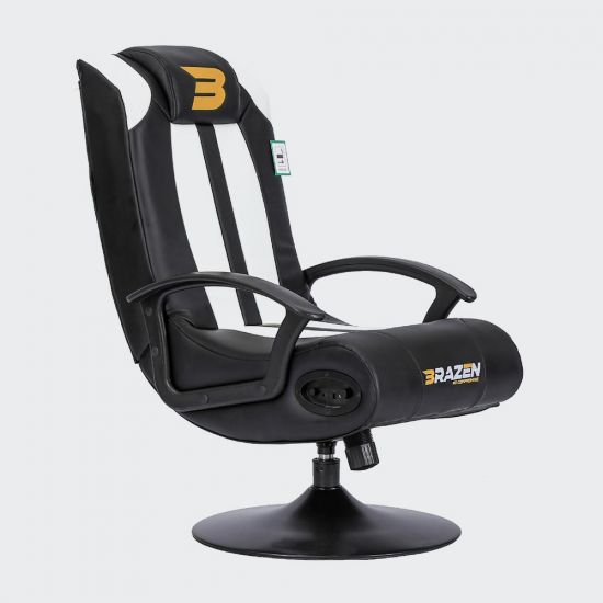 BraZen Stag Gaming Chair in Black and White