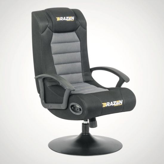 BraZen Stag Gaming Chair – Black and Grey - grey Background