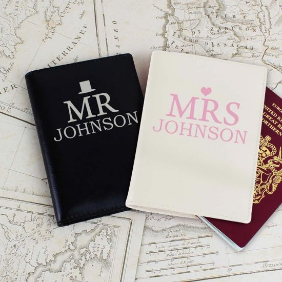 Personalised Mr & Mrs Passport Holders Set on lifestyle background