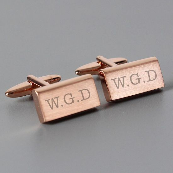 Personalised Rose Gold Cufflinks on grey background