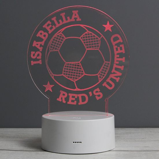 Personalised Football LED Colour Changing Desk Night Light on grey background