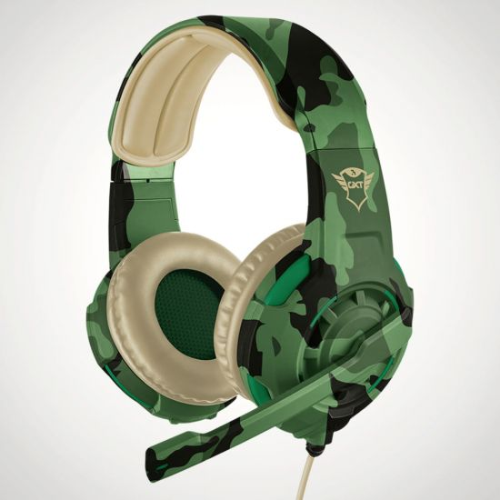 Trust GXT 310C Radius Gaming Headset in Jungle Camo - Grey Background