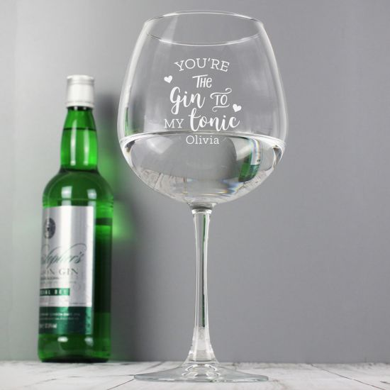 Personalised 'Gin to My Tonic' Glass - Lifestyle