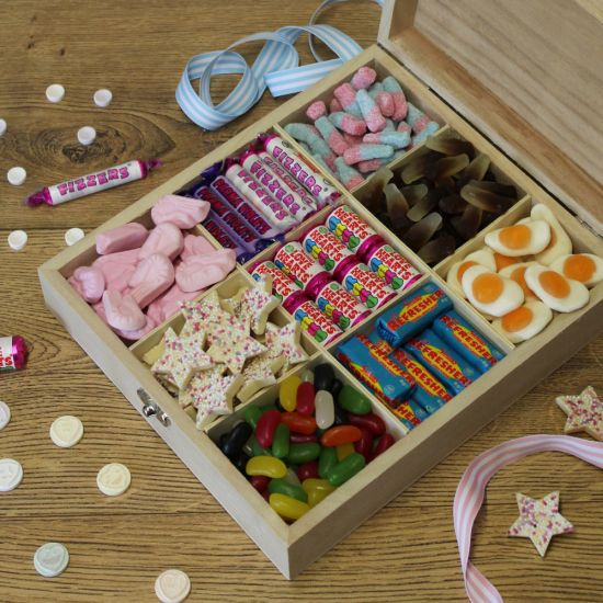 Personalised 'Sweet Like Candy' Retro Wooden Sweet Box - Lifestyle
