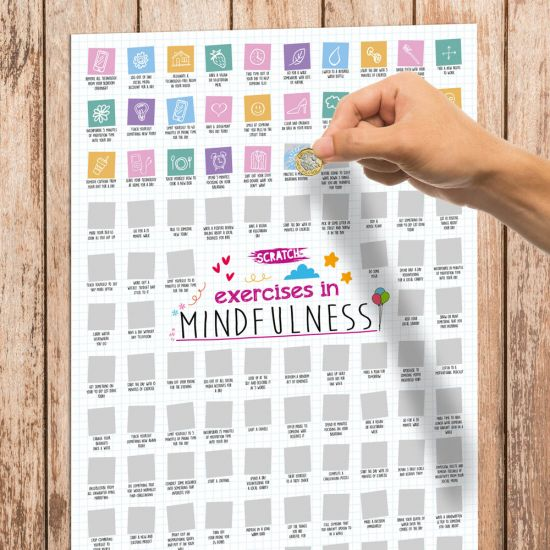 Scratch Poster - 100 Exercises in Mindfulness Challenge A2 - Lifestyle