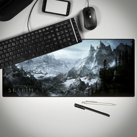 skyrim oversized mouse pad on a computer desk