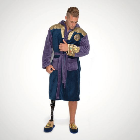 Marvel Thanos Infinity Gauntlet Fleece Bathrobe - Grey Background