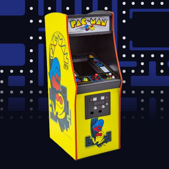 Pac-Man Quarter Size Arcade Cabinet with arcade background