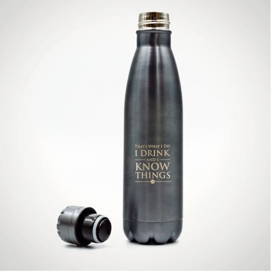 Game of Thrones - I drink and I know things Metal Drinks Bottle - Grey Background