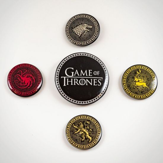 Game of Thrones Four Great Houses Badge Set - Grey Background