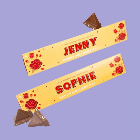 Personalised Mother's Day Toblerone on purple background