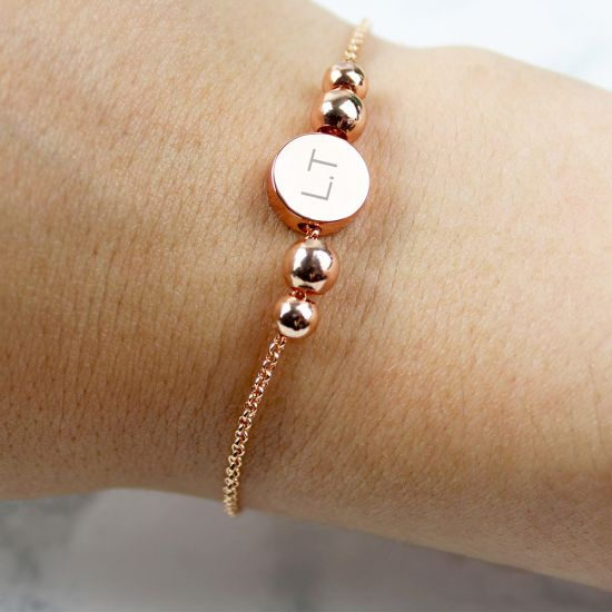 Personalised Rose Gold Tone Initials Disc Bracelet - Lifestyle