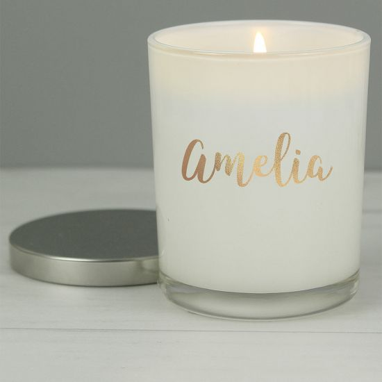 Personalised Gold Name Scented Jar Candle with Lid - Lifestyle