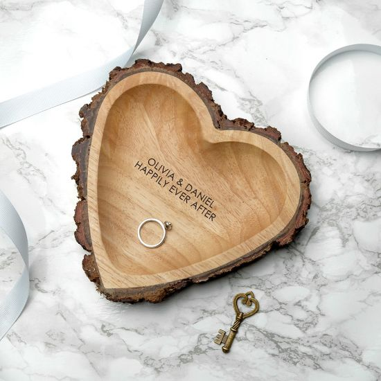 Personalised Rustic Carved Wooden Heart Dish - Lifestyle