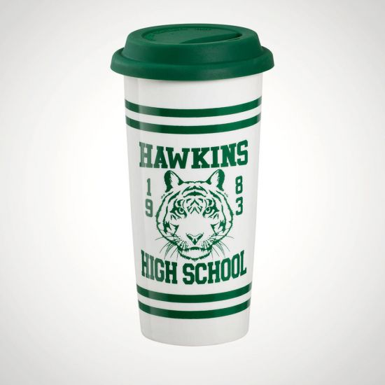 Stranger Things Hawkins High School Travel Mug - Grey Background