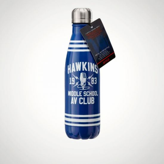 Stranger Things Hawkins AV Club Metal Water Bottle - Grey Background
