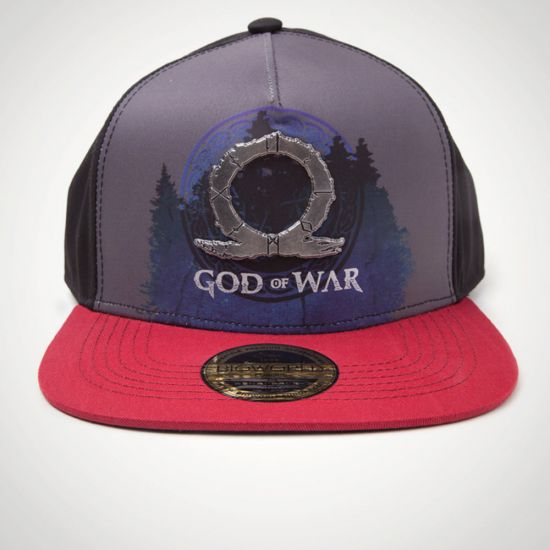 God Of War - Sublimation Print Metal Badge Snapback Cap - Grey Background
