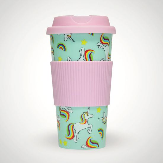 Unicorn Travel Cup-Grey Background