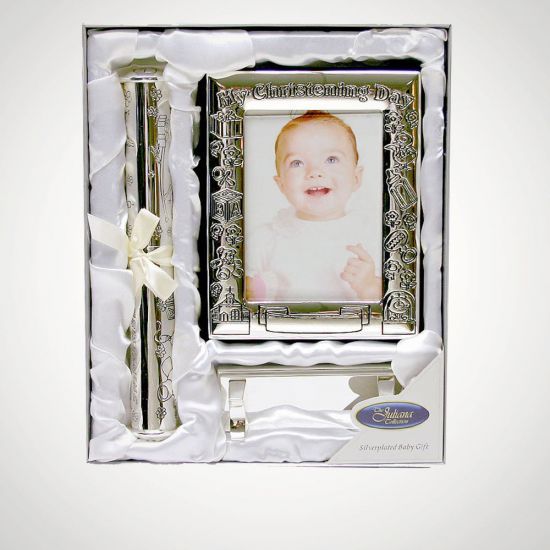 Christening Certificate Holder and Photo Album - Grey Background