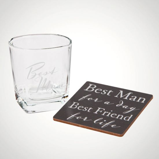Best Man Whisky Glass and Coaster Set - Grey Background
