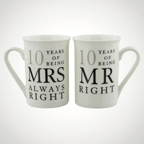 10 Years Of Mr Right and Mrs Always Right Mugs