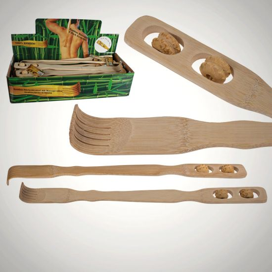 Bamboo Back Scratcher and Massager - Grey Background