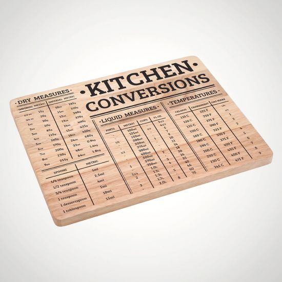 Wood Chopping Board with Kitchen Conversions - Grey Background