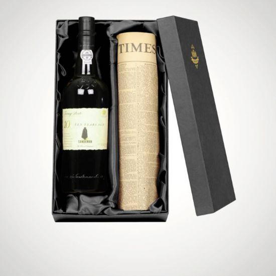 Personalised 10 Year Old Tawny Port & Newspaper-Grey Background