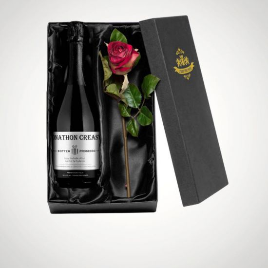 Personalised Prosecco Gift Box With Rose-Grey Background