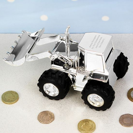 Personalised Digger Christening Money Box - Lifestyle