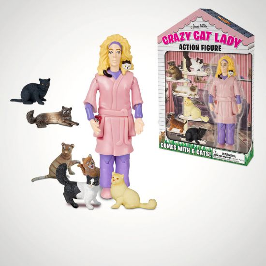 Crazy Cat Lady Action Figure - Grey Background