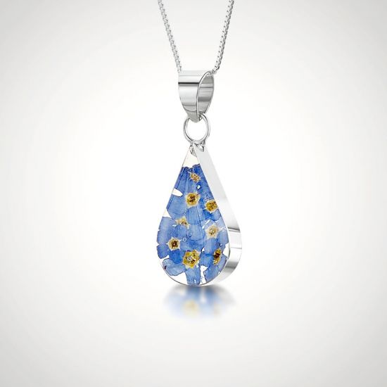 Forget Me Not Teardrop Pendant-Grey Background