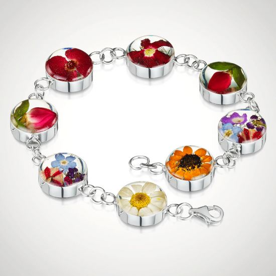 Real Flower Bracelet With Mixed Blooms-Grey Background