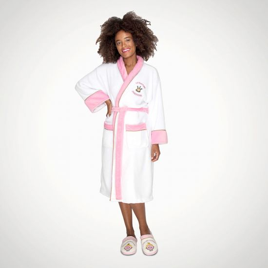 MMLM Miss Princess White Pink Ladies Robe with Emboidered Jewels - Grey Background
