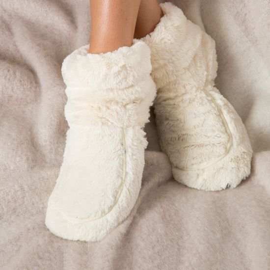 Microwavable Slippers - Cream Boots - Lifestyle
