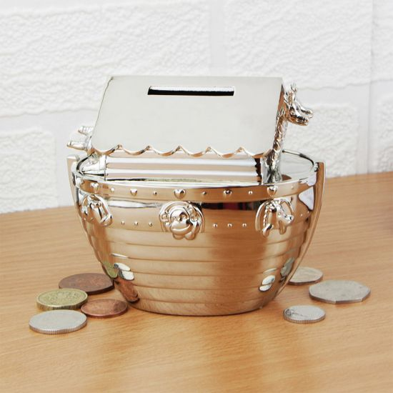 Personalised Silver Plated Noah's Ark Money Box - Lifestyle