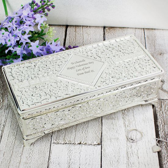 Antique Style Personalised Silver Plated Jewellery Box - Lifestyle