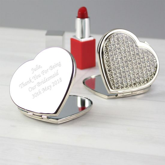 Personalised Diamante Heart Compact Mirror - Lifestyle