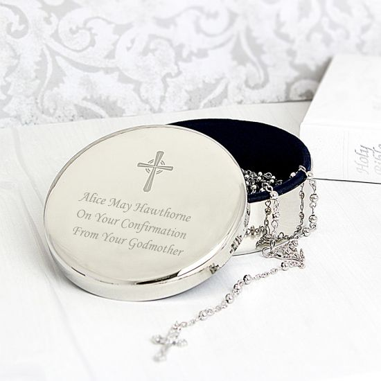 Personalised Rosary Beads and Cross Round Trinket Box - Lifestyle